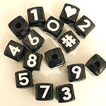 Plastic Black Vertical Hole 11mm Cube Number Beads, Single Numbers, 12 beads