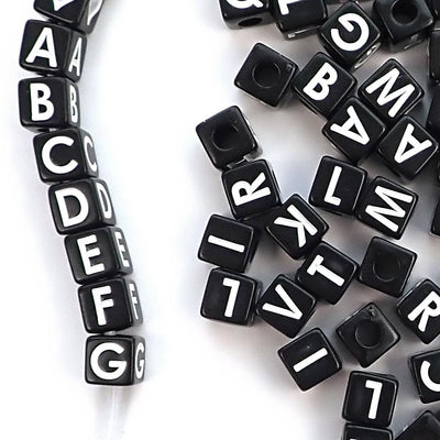 Black Alphabet Beads with Vertical Holes