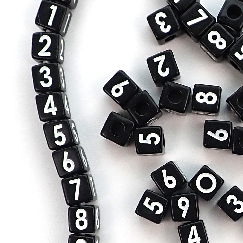 Black Number Beads with Vertical Holes