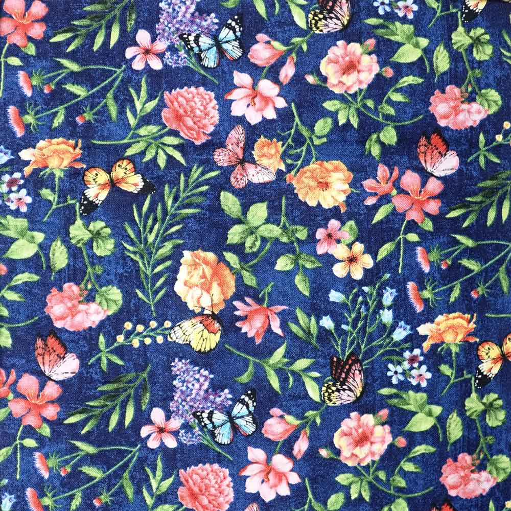 Dark Blue Butterfly Floral, 100% Cotton Fabric, per yard
