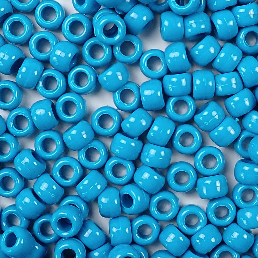 opaque turquoise 6 x 9mm plastic pony beads in bulk