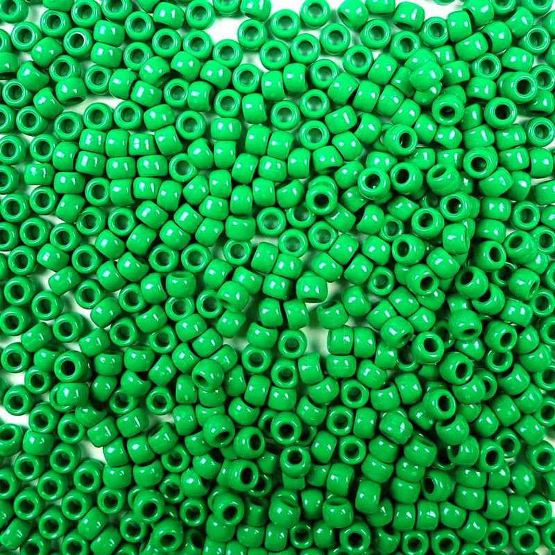 opaque green 6 x 9mm plastic pony beads in bulk