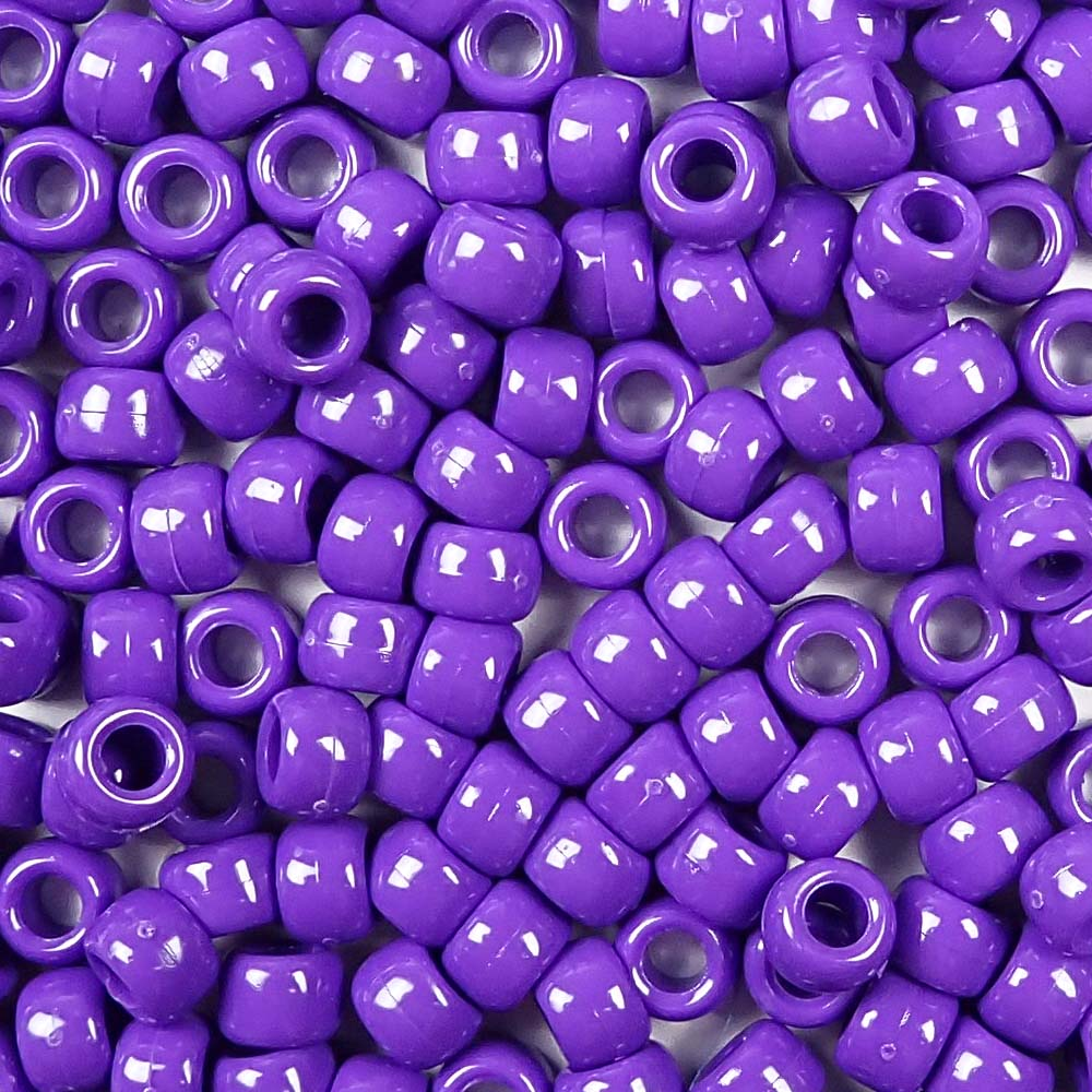 opaque purple 6 x 9mm plastic pony beads in bulk