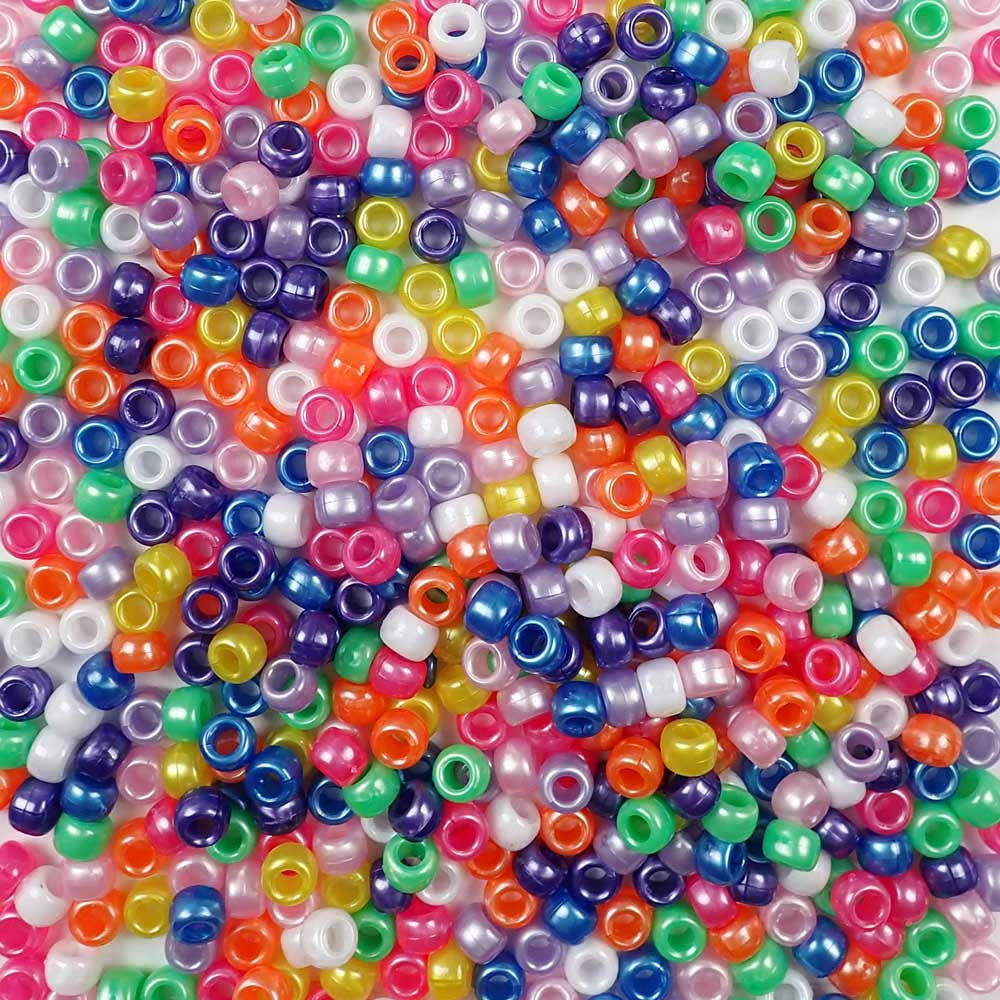 Bright pearl colors of 6 x 9mm Plastic Pony Beads