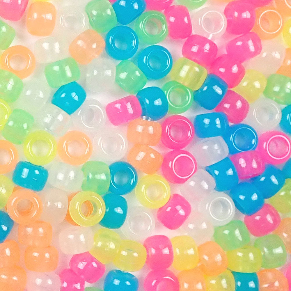 Glow Mix Plastic Pony Beads 6 x 9mm, 1000 beads