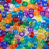 Mixed transparent colors of 6 x 9mm Plastic Pony Beads