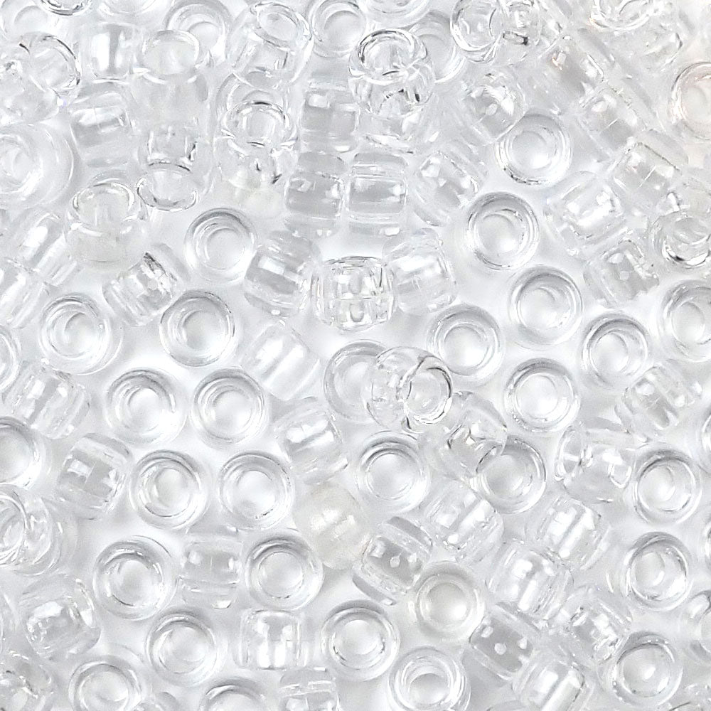 clear 6 x 9mm plastic pony beads in bulk