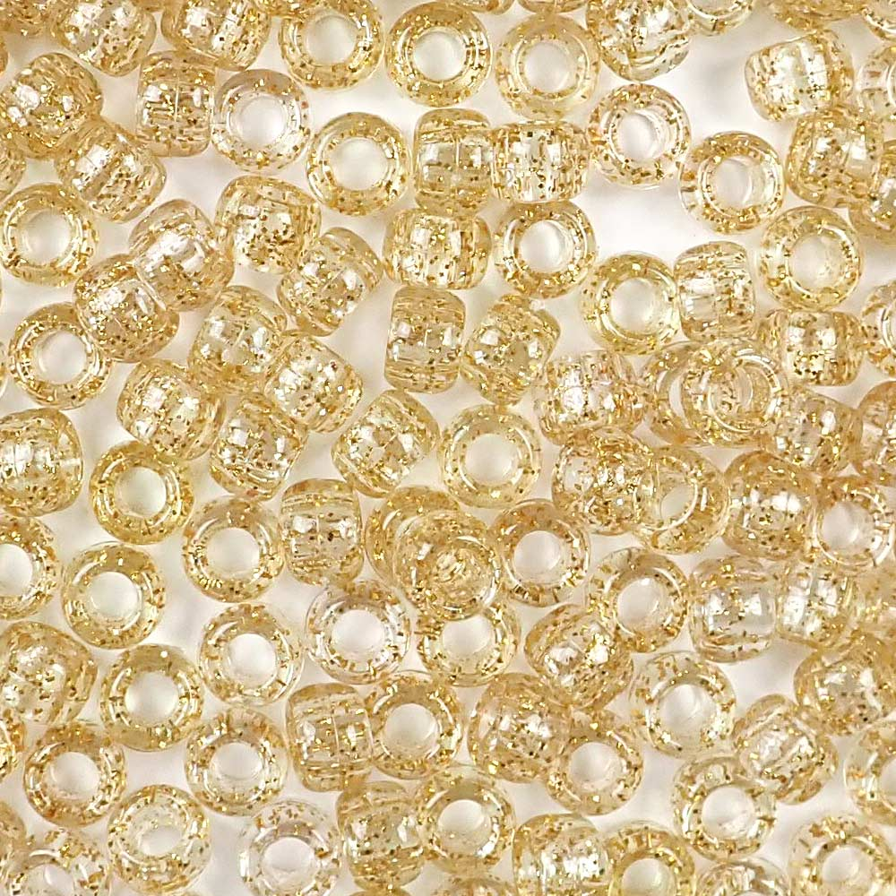 gold glitter 6 x 9mm plastic pony beads in bulk