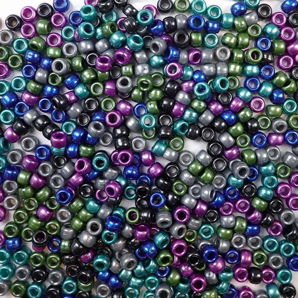 Cool pearl colors of 6 x 9mm Plastic Pony Beads