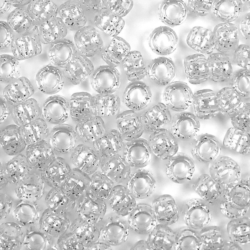 silver glitter 6 x 9mm plastic pony beads in bulk