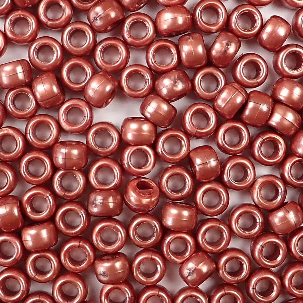 antique copper pearl 6 x 9mm plastic pony beads in bulk