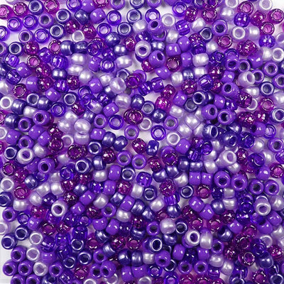 6 x 9mm plastic pony beads in a mix of different purple colors