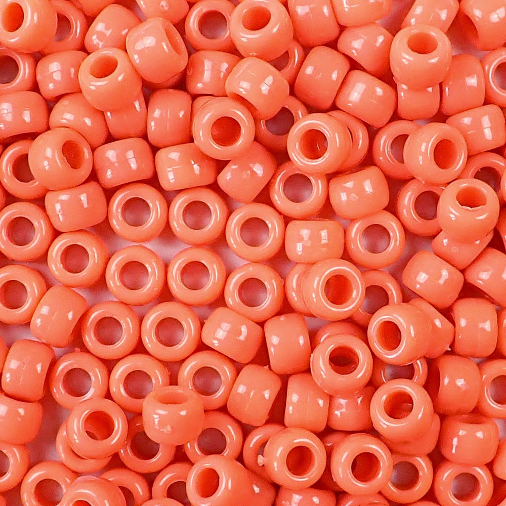 coral 6 x 9mm plastic pony beads in bulk