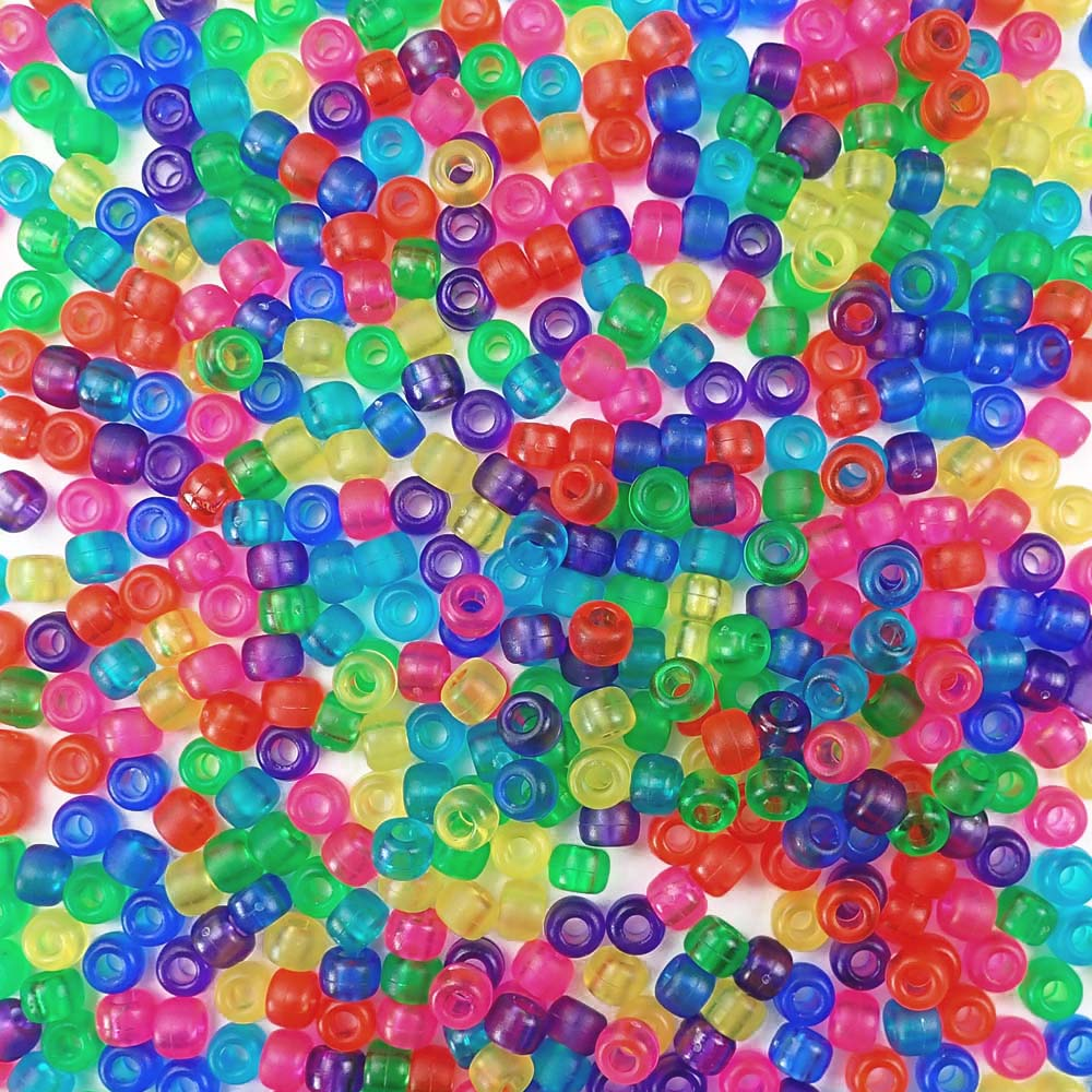 Frosted rainbow colors of 6 x 9mm Plastic Pony Beads