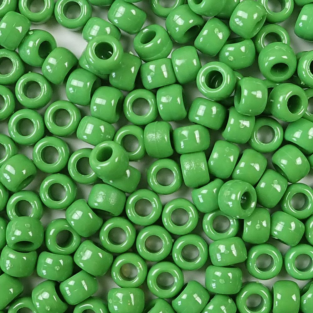 pea green 6 x 9mm plastic pony beads in bulk