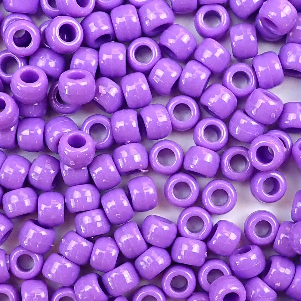 Lilac Purple 6 x 9mm Plastic Pony Beads