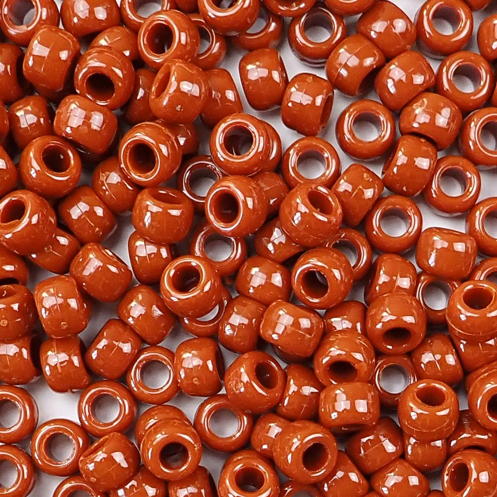 Rust 6 x 9mm plastic pony beads in bulk