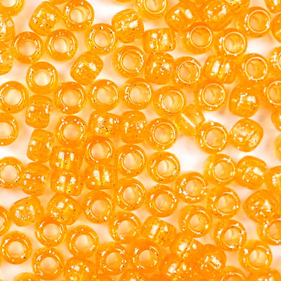 orange glitter 6 x 9mm plastic pony beads in bulk