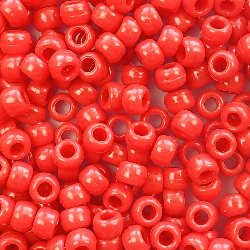 neon red 6 x 9mm plastic pony beads