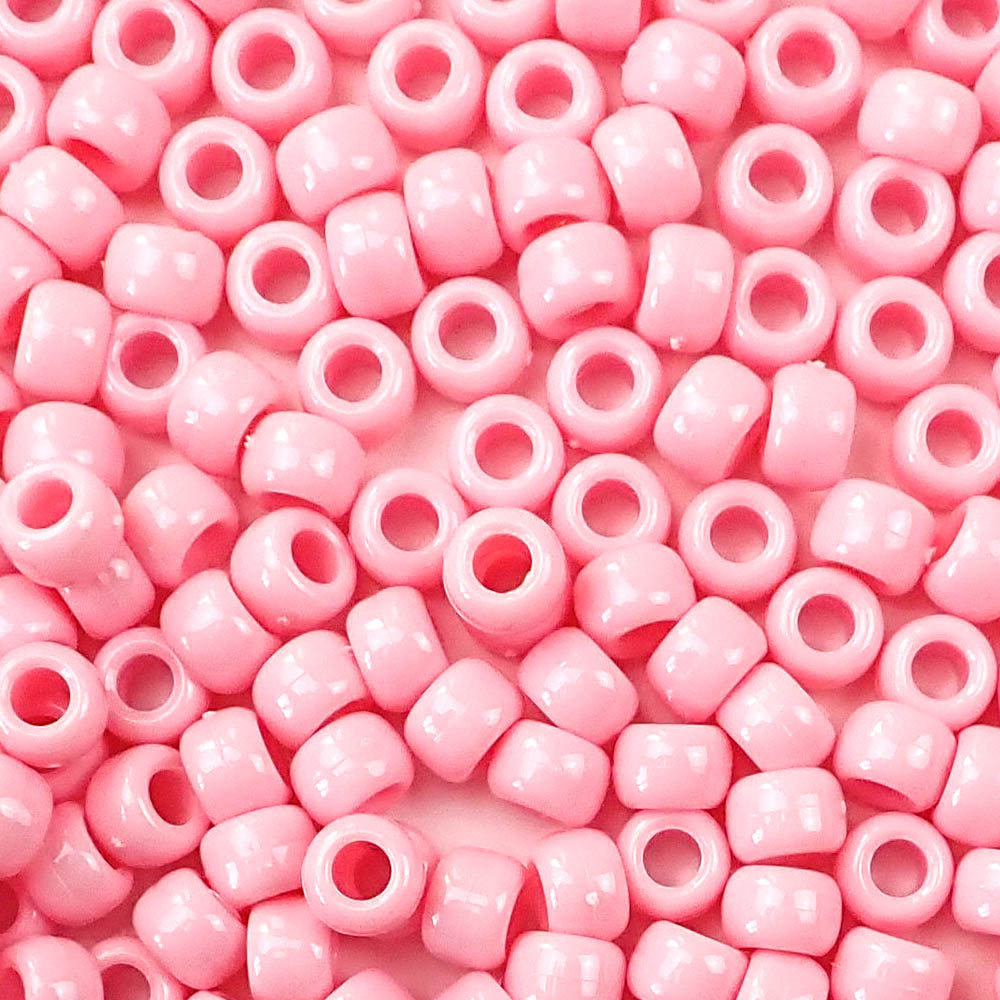 pale pink 6 x 9mm plastic pony beads