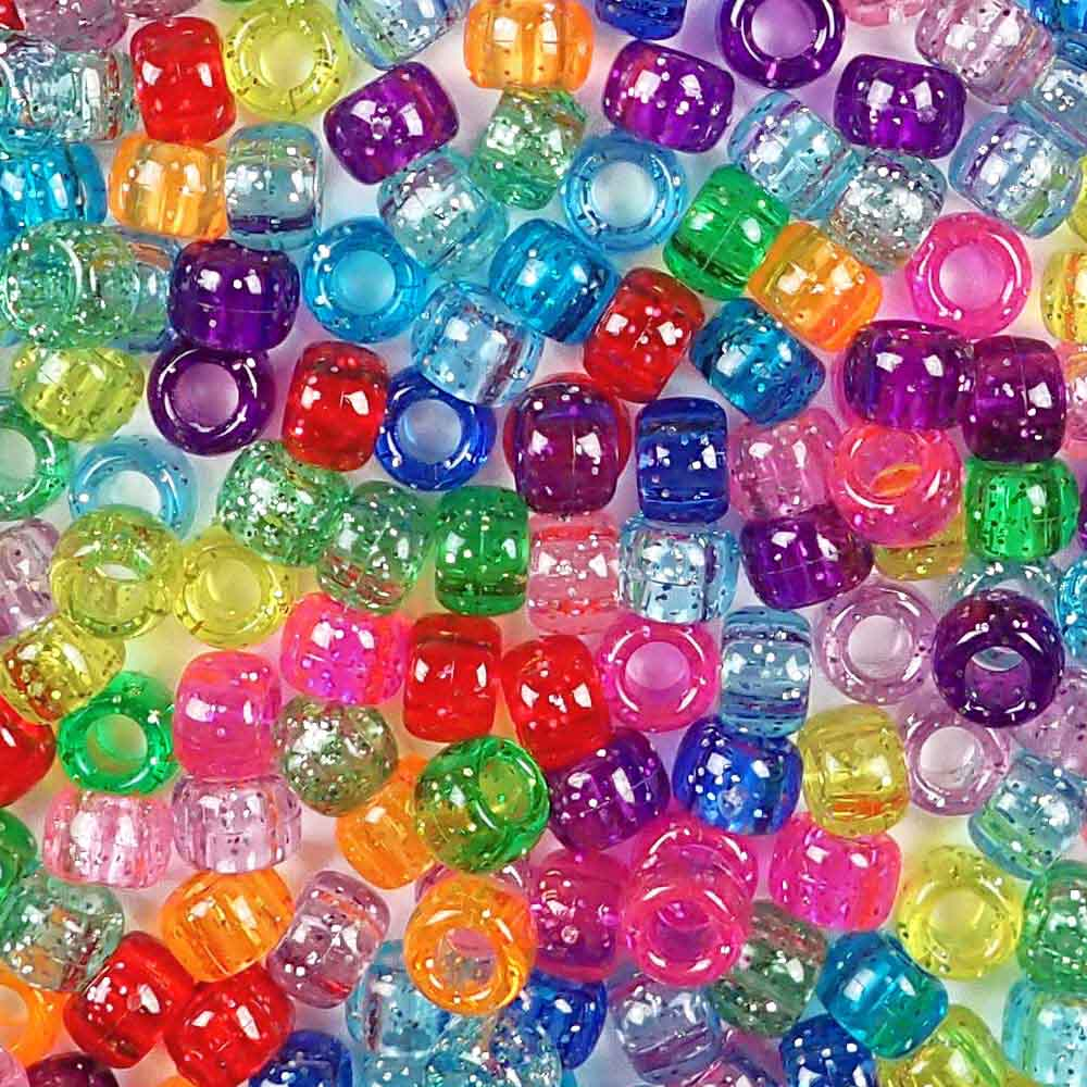 6 x 9mm Plastic Pony Beads in a mix of glitter rainbow colors