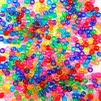 6 x 9mm Plastic Pony Beads in transparent rainbow colors