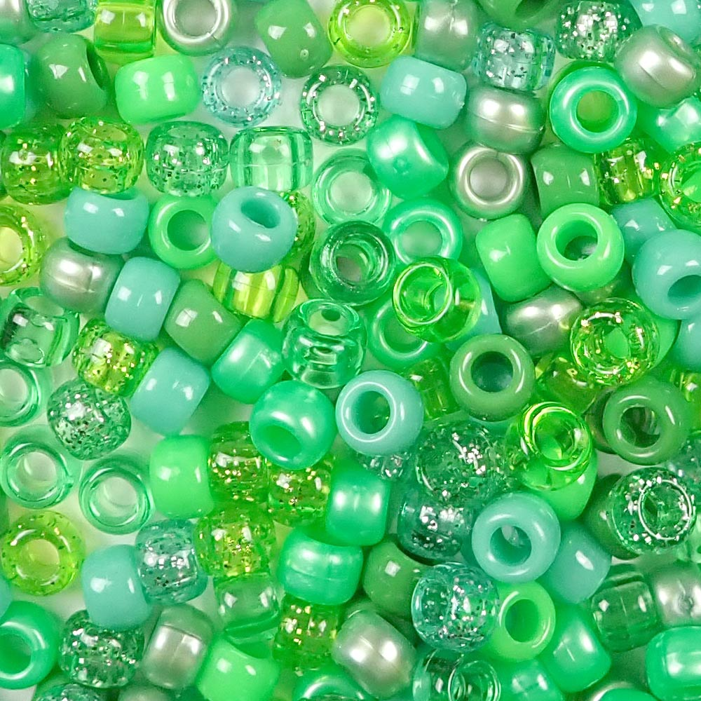 light green colors of 6 x 9mm plastic pony beads