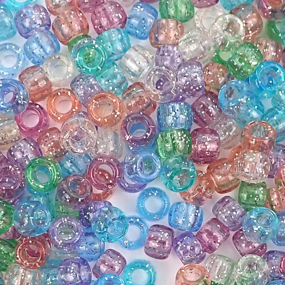 pastel glitter colors 6 x 9mm plastic pony beads