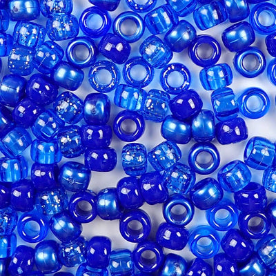 different dark blue shades of 6 x 9mm plastic pony beads in bulk