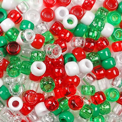 6 x 9mm Plastic Pony Beads in Christmas Colors
