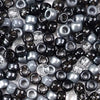 a mix of black and gray colors of 6 x 9mm plastic pony beads