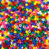 6 x 9mm plastic pony beads in rainbow sprinkle colors