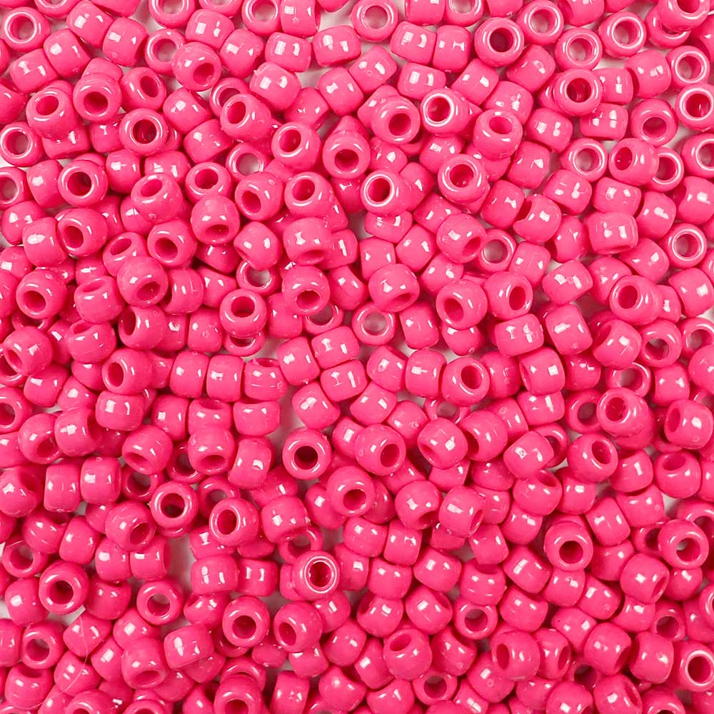 Vintage Rose Pink Opaque Plastic Pony Beads 6 x 9mm, 500 beads