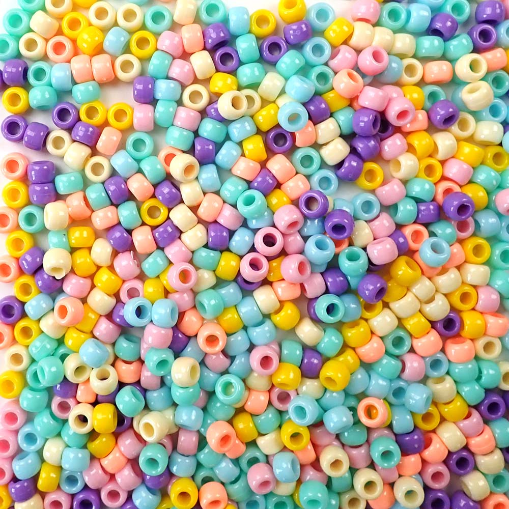 Opaque Pastel Colors of 6 x 9mm Plastic Pony Beads