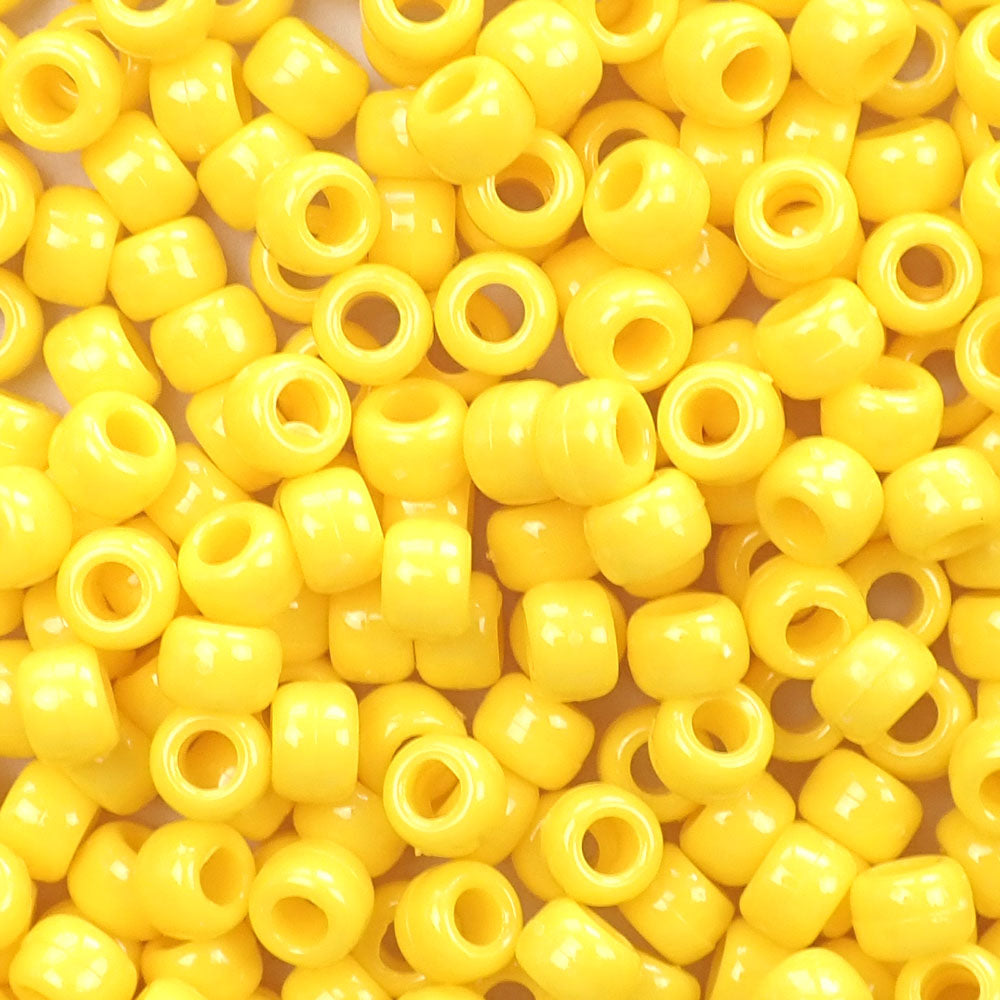 Daffodil Yellow Opaque Plastic Pony Beads 6 x 9mm, 500 beads