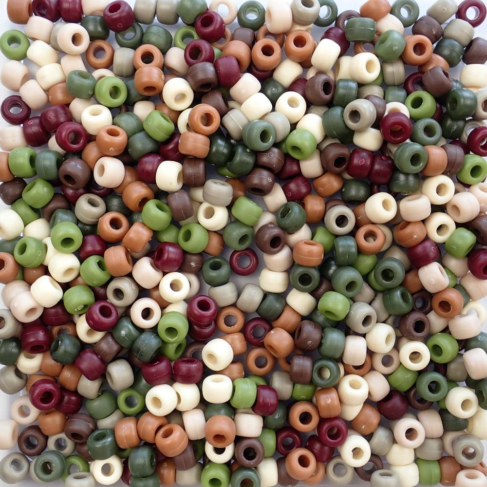 Camouflage theme color mix of pony beads with matte finish
