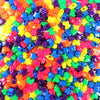Plastic Pony Bead Shapes Mix, Neon Colors, 125 beads