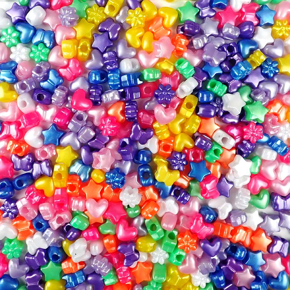 Plastic Pony Bead Shapes Mix, Pearl Colors, 125 beads
