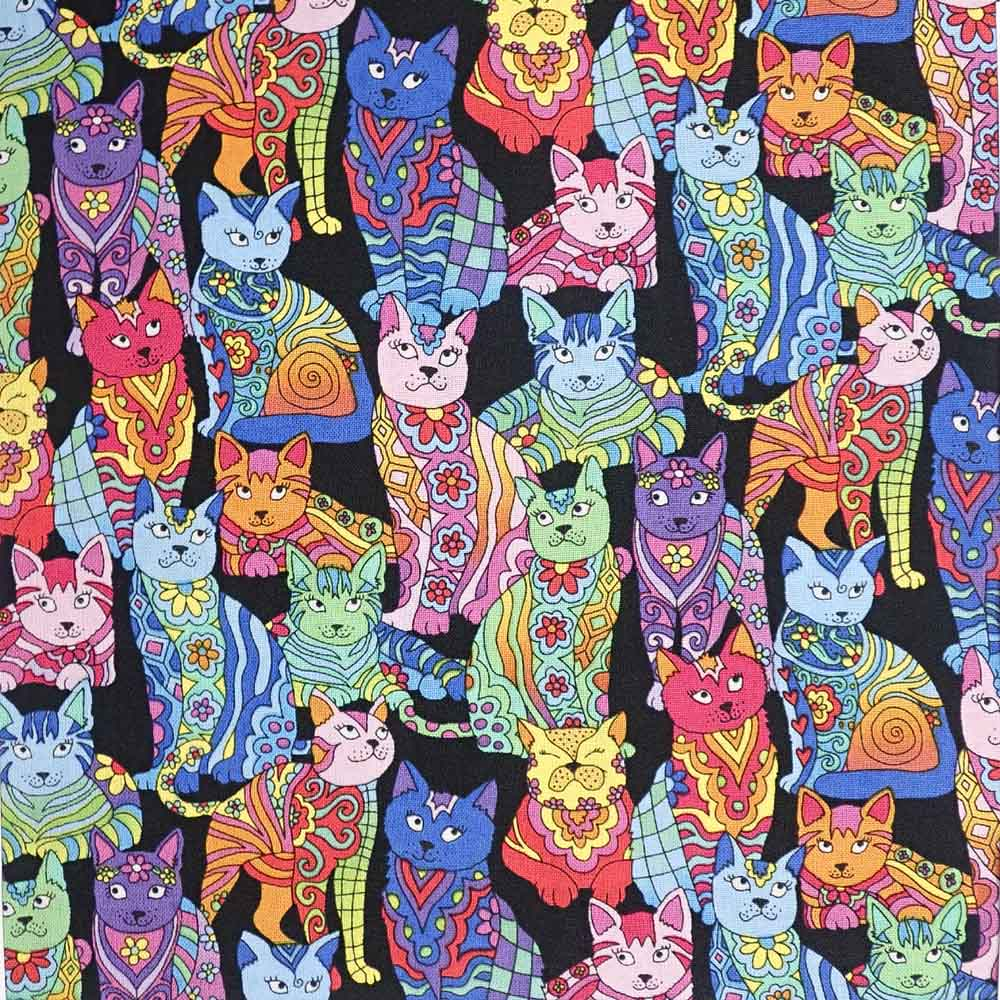 Rainbow Psychedelic Cats, 100% Cotton Fabric, per yard