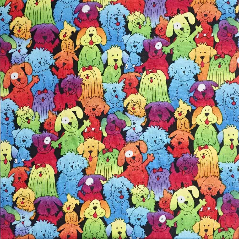 Rainbow Dogs, 100% Cotton Fabric, per yard