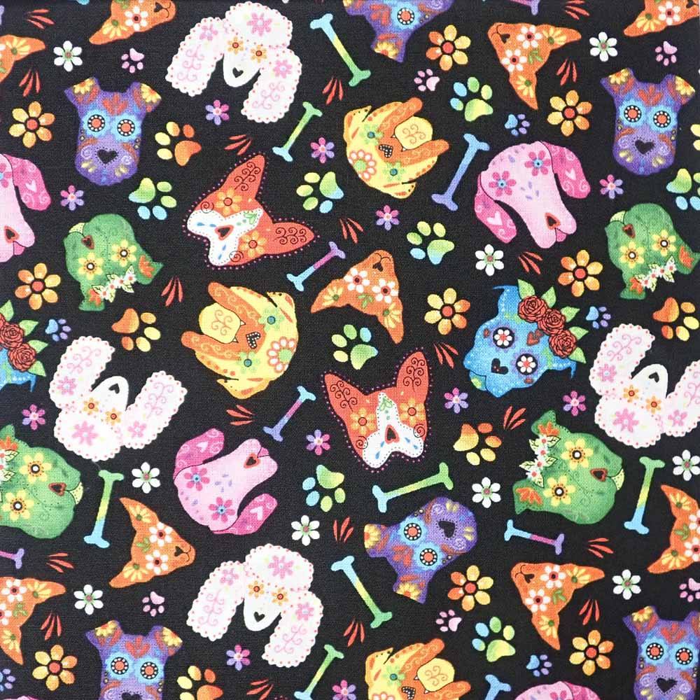 Sugar Skull Dogs, 100% Cotton Fabric, per yard