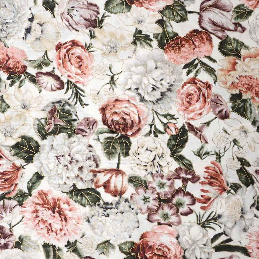 Vintage Style Floral, 100% Cotton Fabric, per yard