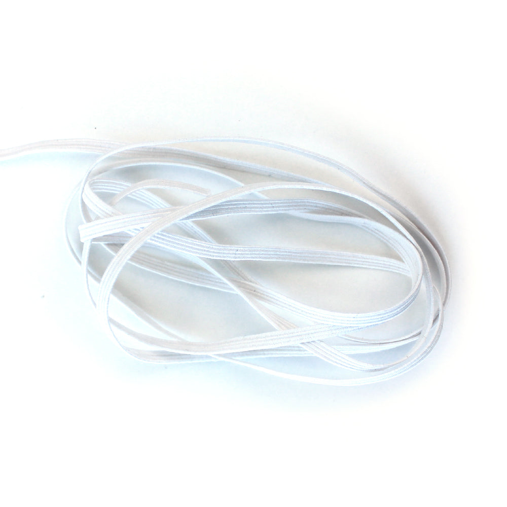 White Flat Elastic Cord, 3mm wide, 15 yards