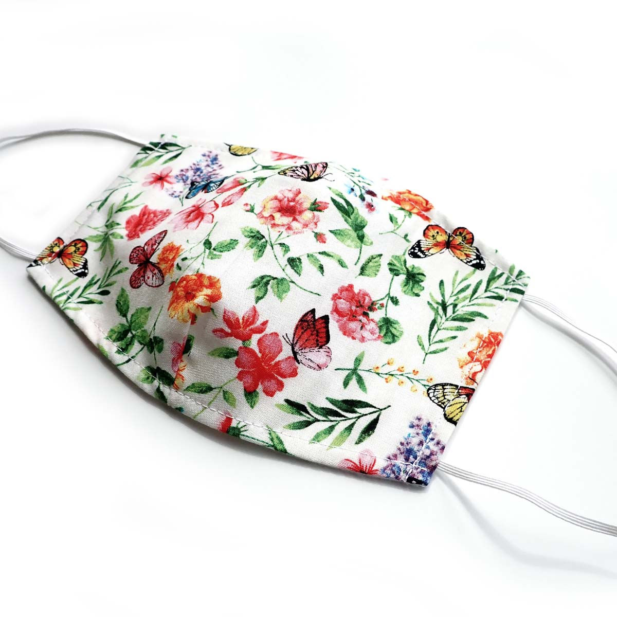 White Butterfly Floral, 100% Cotton Basic Face Mask, (no pocket, no nose wire)