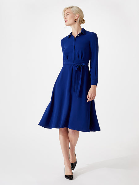 Midi length shirt dress with belt
