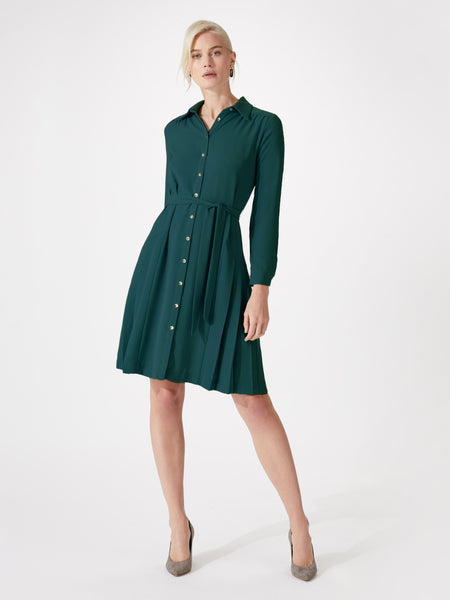 Midi length pleated shirt dress with belt