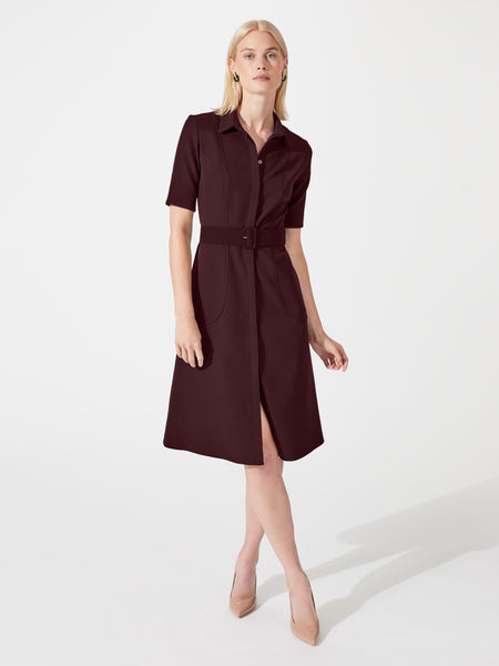 Structured a-line midi length shirt dress with belt