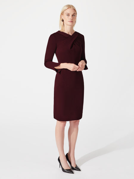Long sleeve midi length stretchy pencil dress