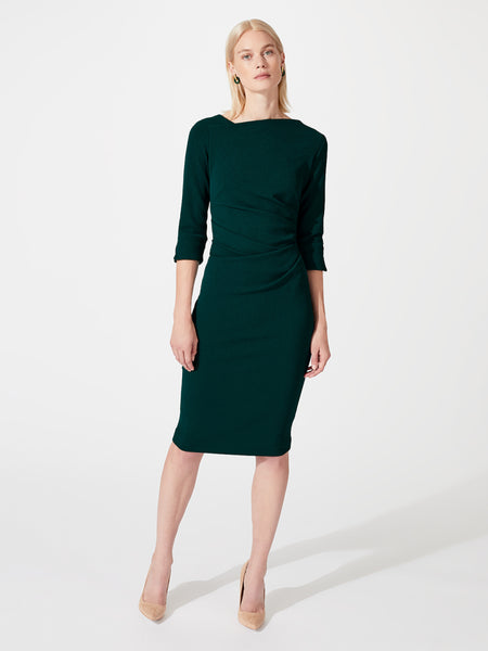 Modern ruched midi length pencil work dress