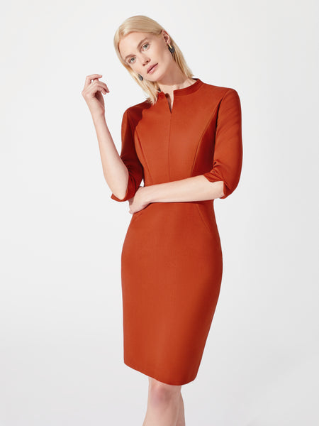 Mandarin collar midi length pencil dress